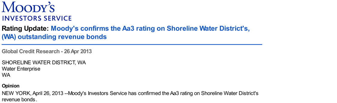 Moody's Shoreline Water District Aa3 Bond Rating