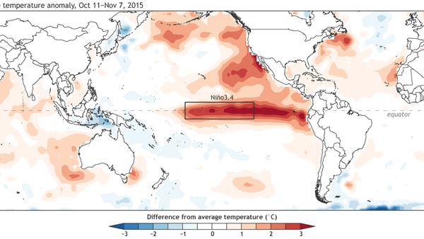 El Nino temperatures 2015-2016