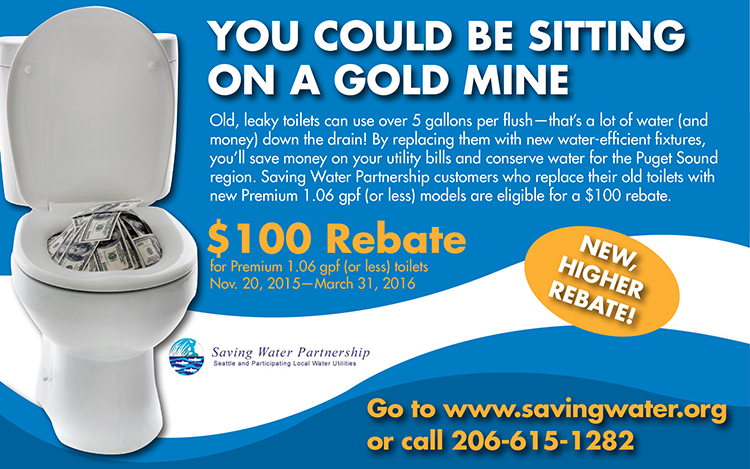 Seattle $100 Toilet Rebate Shoreline Lake Forest Park